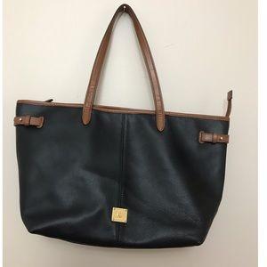 Lauren Ralph Lauren Black Leather Tote Bag